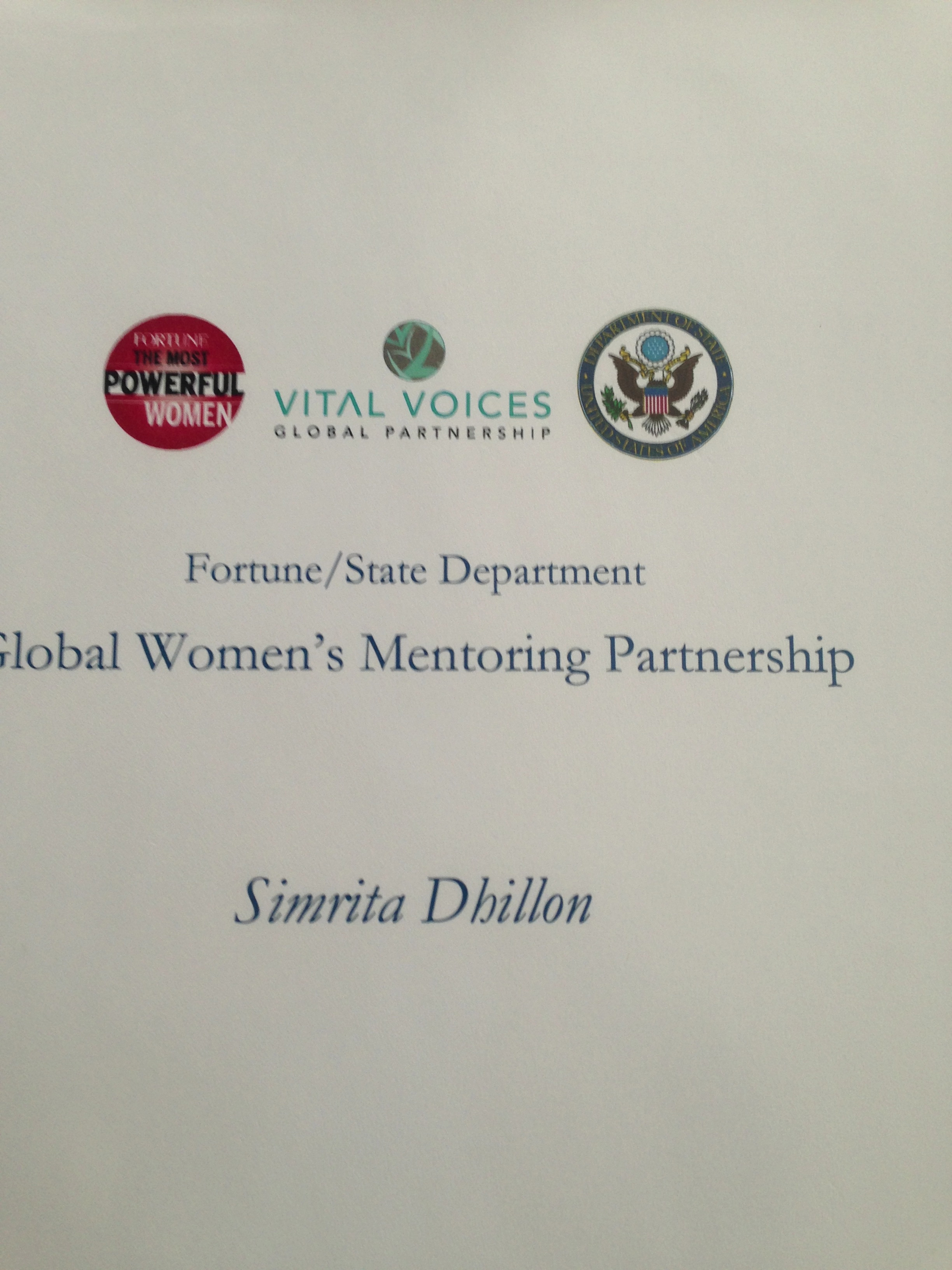 Thanks to Vital Voices Global Partnership. Fortune/ State Department - Global Women's Mentoring Partnership.