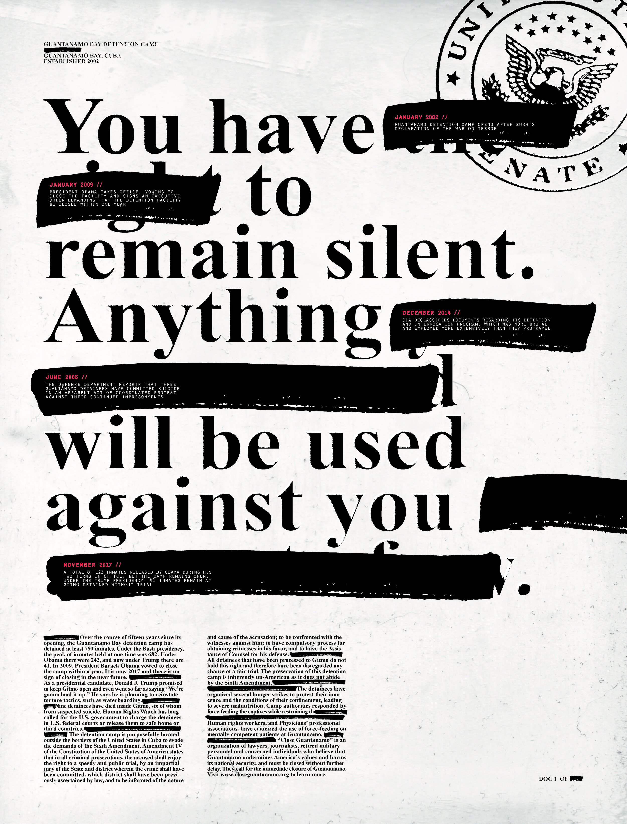Design 376, University of Washington   Poster advocating for the inmates at Guantanamo Bay Detention Camp