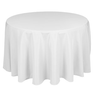 "90"" and 108"" Round White Table Cloth  from $4"