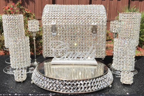 Crystal Decor Package: Sweetheart Table, Cake Table, & Gift Card Crystal Money Box  $165