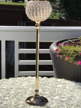 Gold Crystal Globe Candle Holders (10 available)