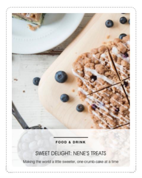 Avenue Magazine & Nene's Treats Crumb Cake