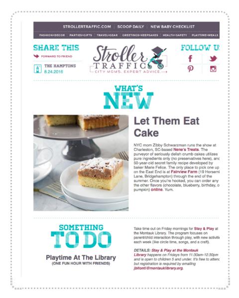 More press for Nene's Treats Crumb Cake