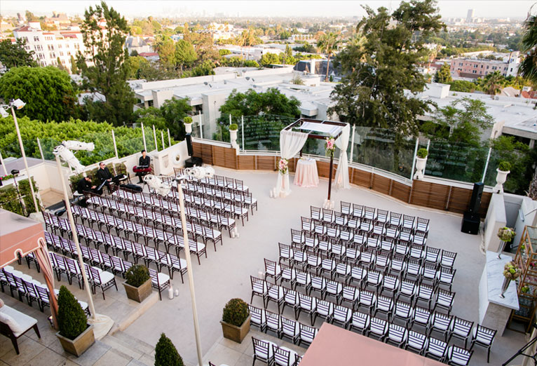wedding ceremony setup on the terrace