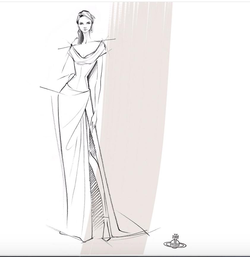 Preliminary sketch of Vivienne Westwood // Photo: Courtesy of Priyanka Bose (Vogue)