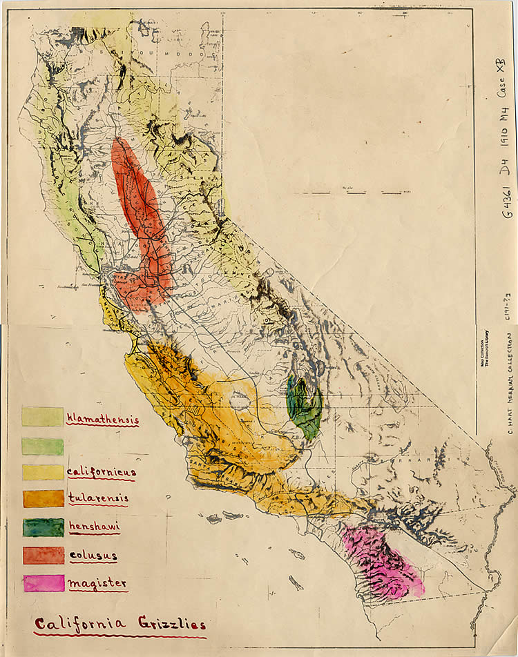 Map of grizzly range in California, drawn by C. Hart Merriam around 1890.