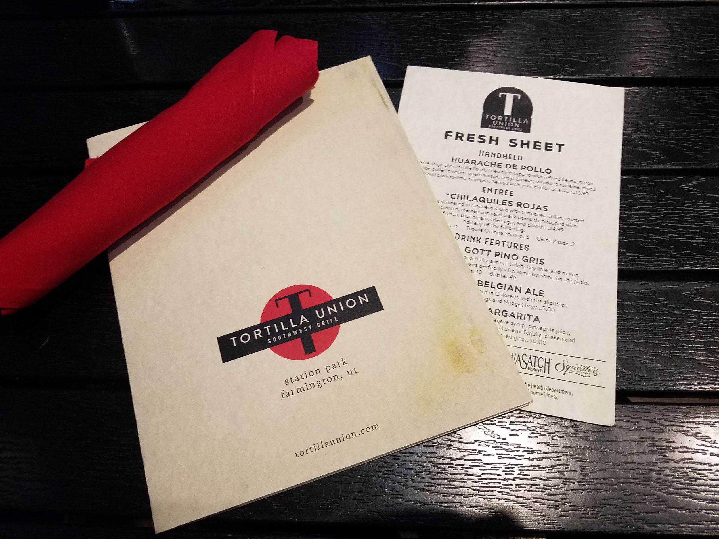 tortilla union menu farmington, utah