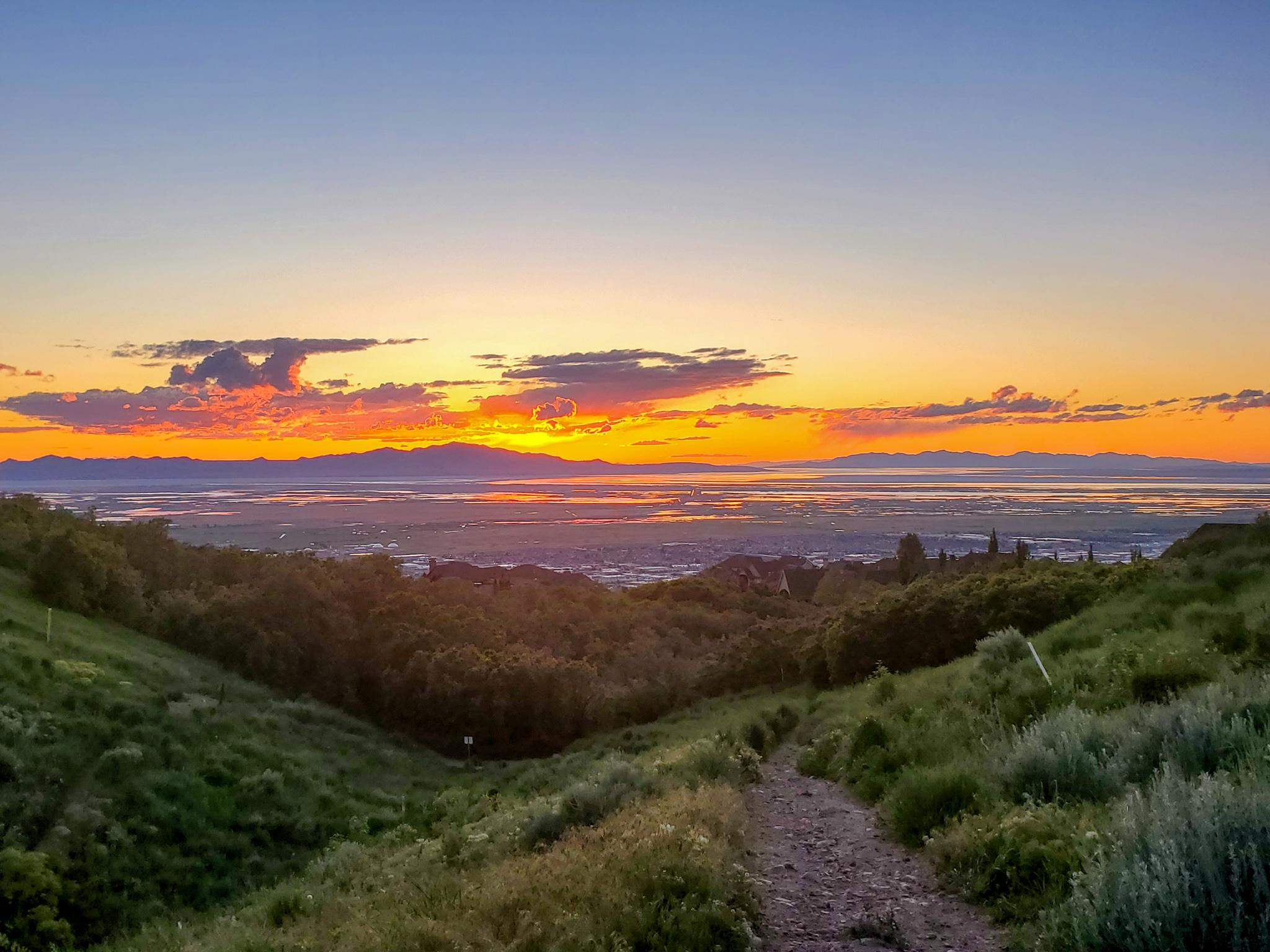 wild rose trailhead sunset hike - north salt lake, utah