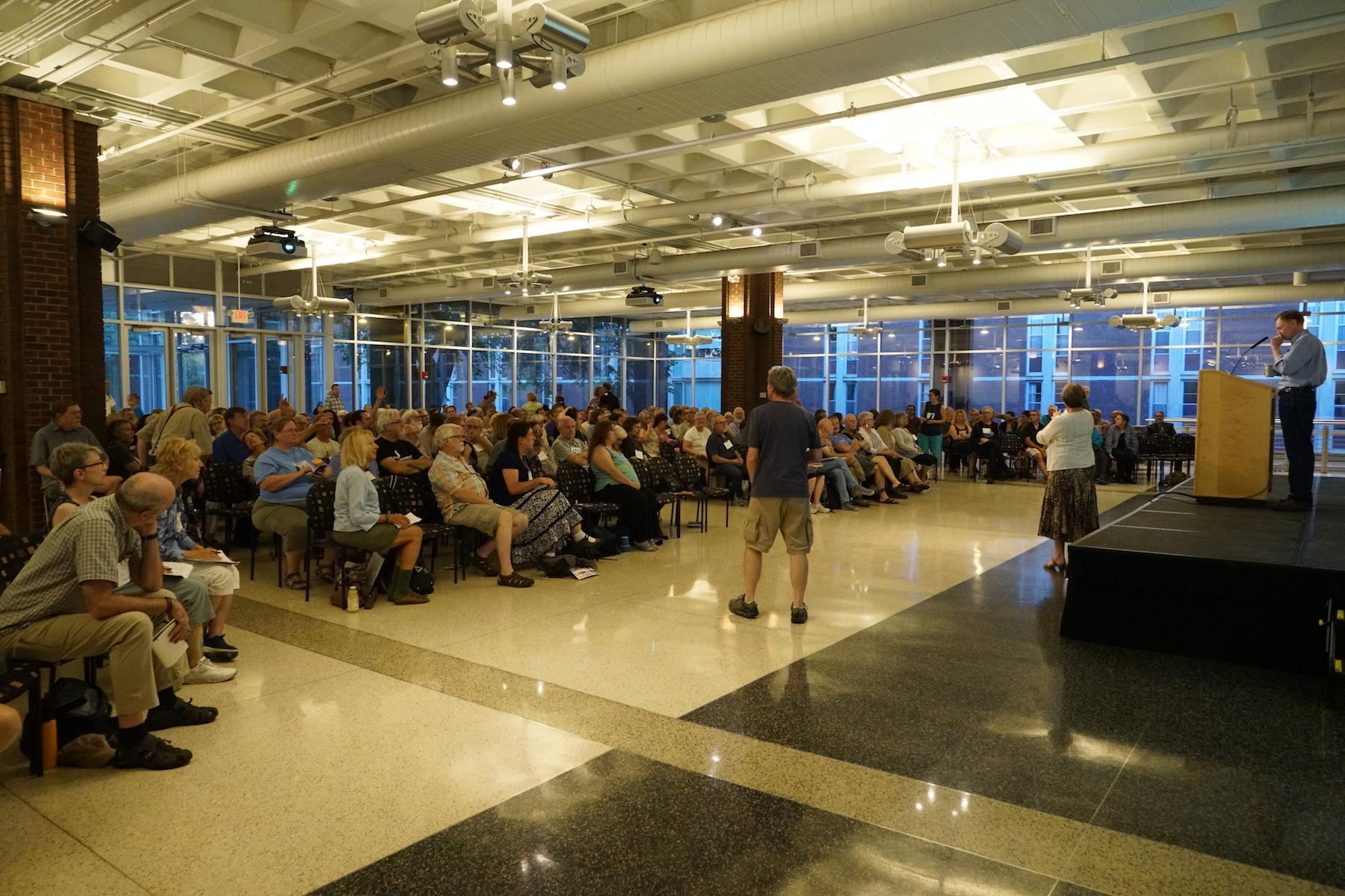 A packed house to hear Post Carbon Institute Senior Fellow Richard Heinberg speak on Friday night. Photo by Teresa Konechne.