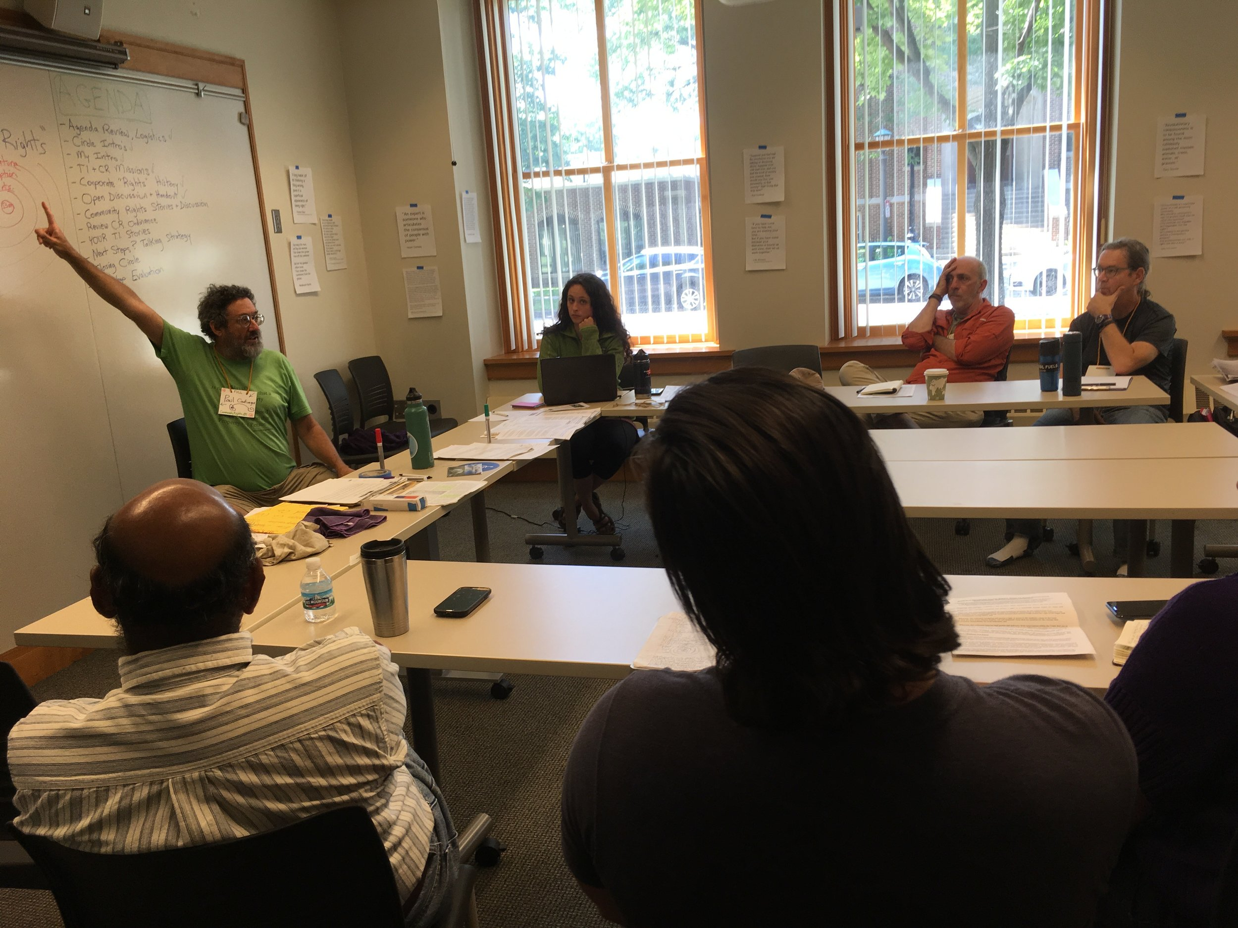 """Paul Cienfuegos of Community Rights US leads a one-day intensive on """"Community Rights: We the People Are More Powerful Than We Dare to Believe."""" Photo by Nils Palsson."""