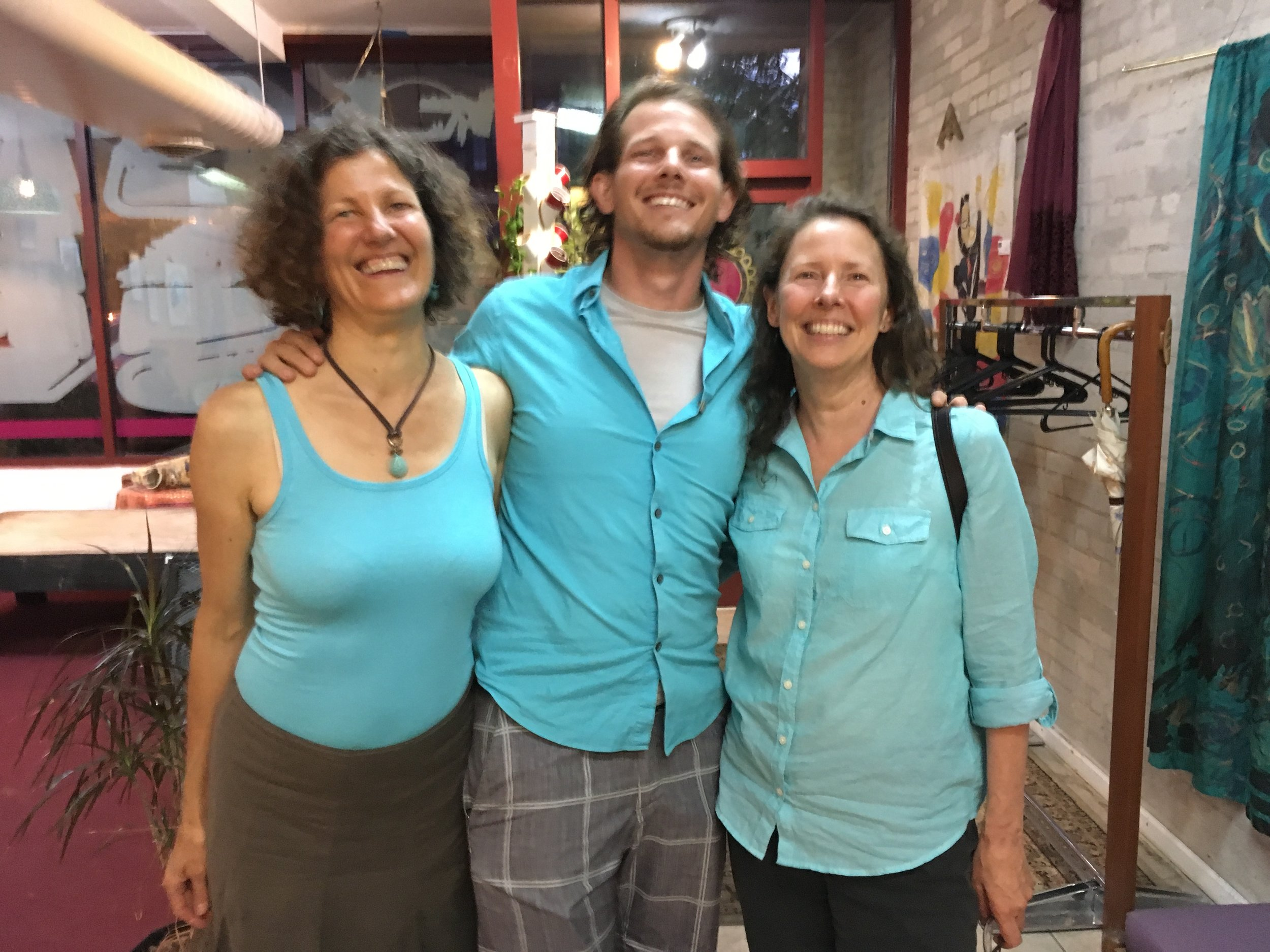 Tina Clarke, Nils Palsson, and Kristina Zill are beaming with satisfaction after an amazing dinner at Minneapolis' Gandhi Mahal. Photo courtesy of Nils Palsson.