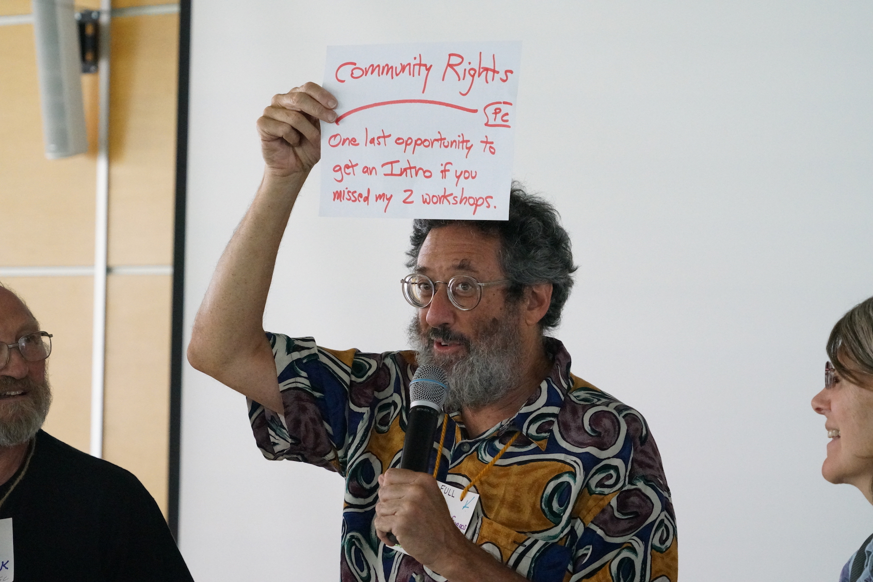 After teaching an intensive and a workshop about Community Rights, Paul Cienfuegos seizes one last opportunity to talk about the cause that's most dear to his heart. Photo by Teresa Konechne.
