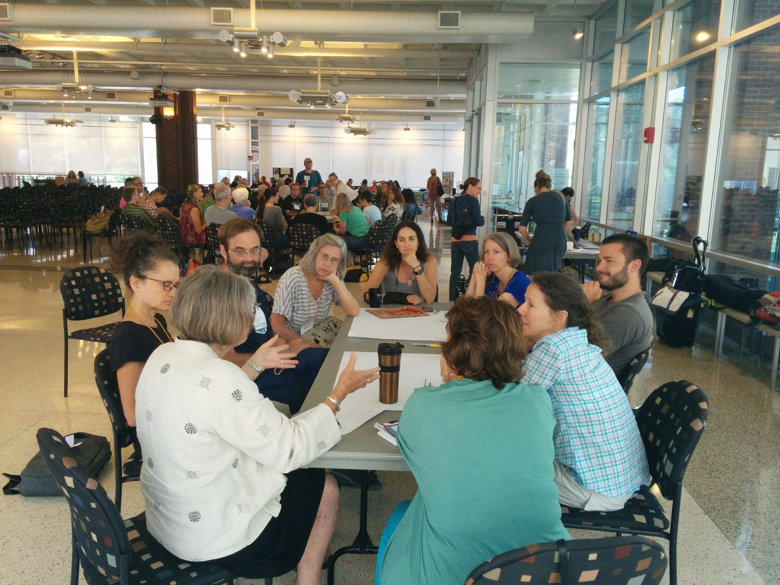 Nina Smolyar, Theo Talcott, Kristina Zill, Ruah Swennerfelt, and others explore the territory of Open Space together. Photo by Carolyne Stayton.