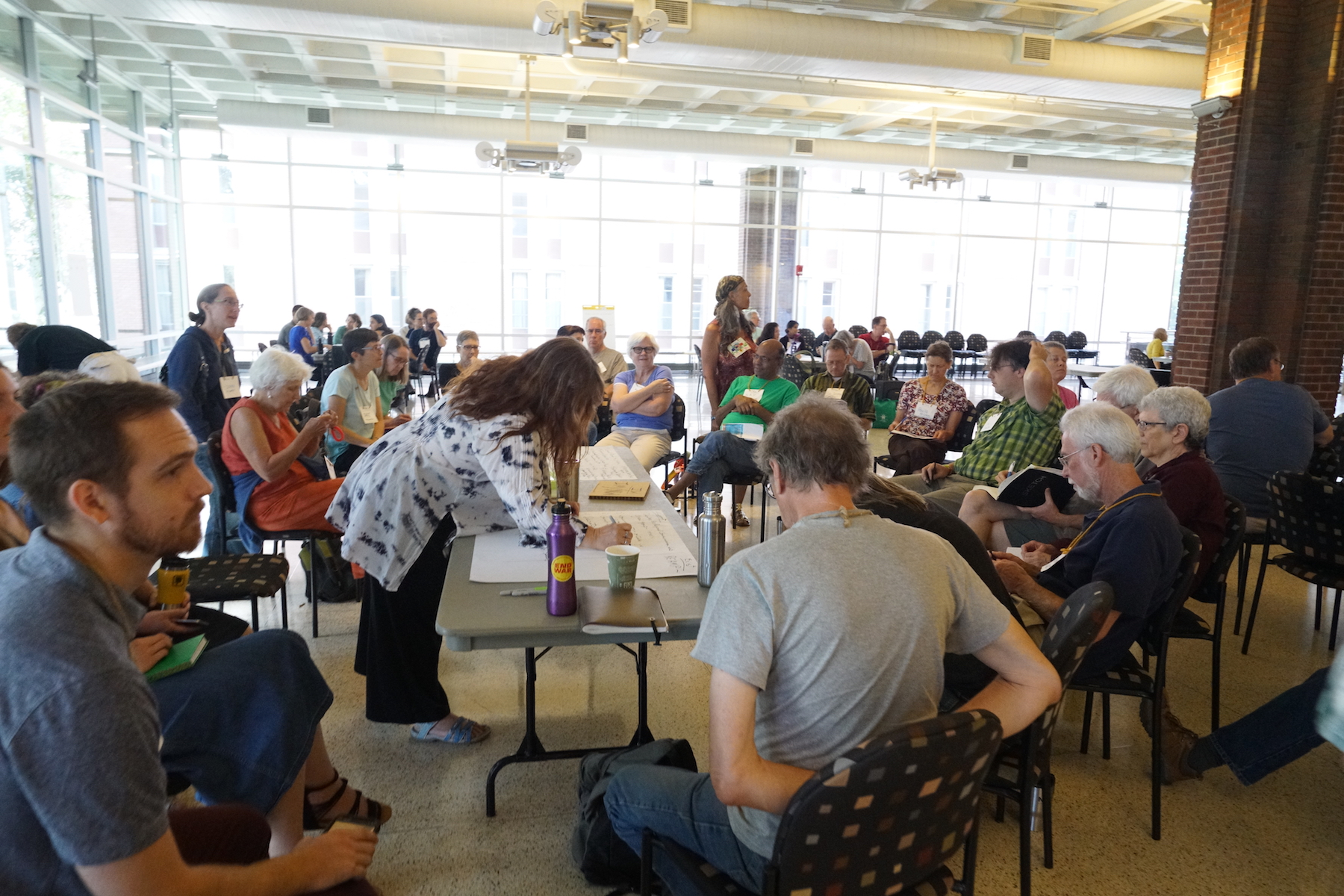 It's no great surprise that the biggest bioregional breakout group, by far, were those Transitioners from in and around the Twin Cities. Photo by Teresa Konechne.