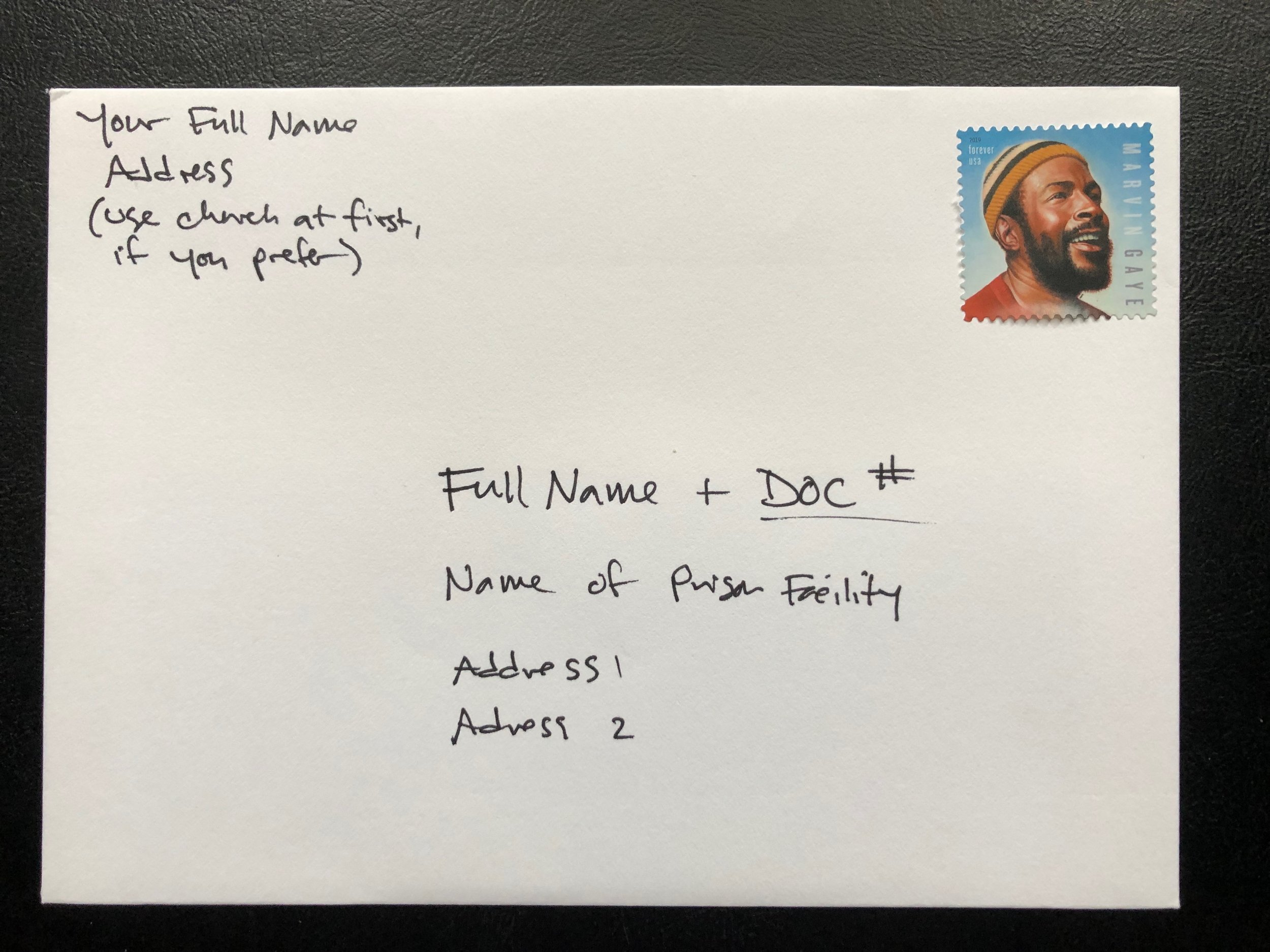 Make sure you address your envelopes with their DOC number and your full name, on the front. Like this.