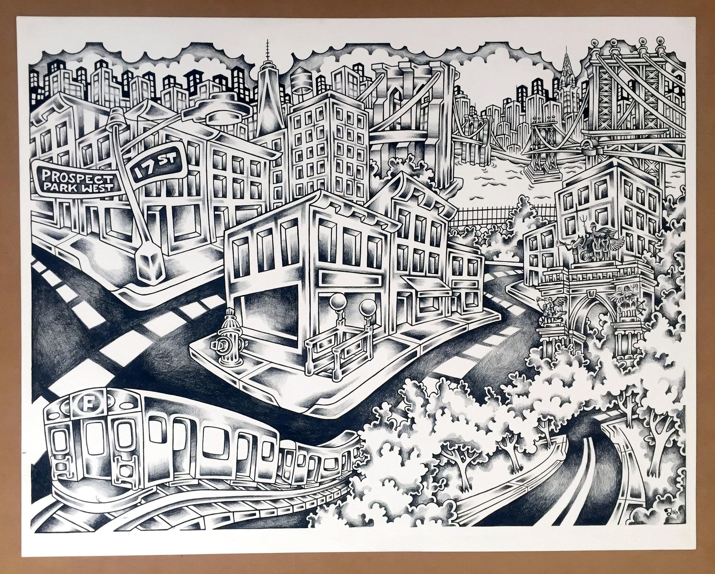Brooklyn, 24%22X18%22 pen, Ink, and Balck Pencil .jpg
