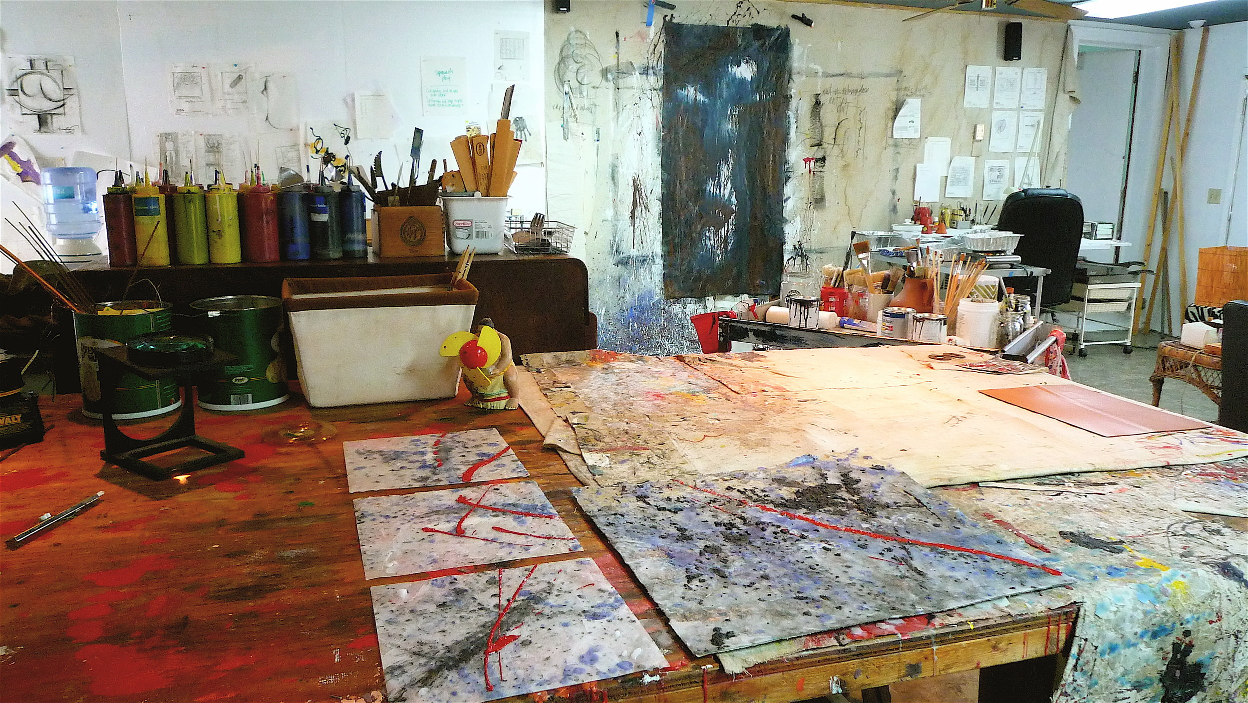 The true workspace of Terry McCullough in the Abstract Studio