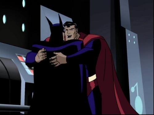 superman and batman hugging