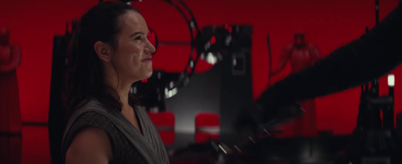 Daisy Ridley  as  Rey , a highly Force-sensitive scavenger from the desert planet  Jakku , who joined the Resistance and goes to find Luke Skywalker red room