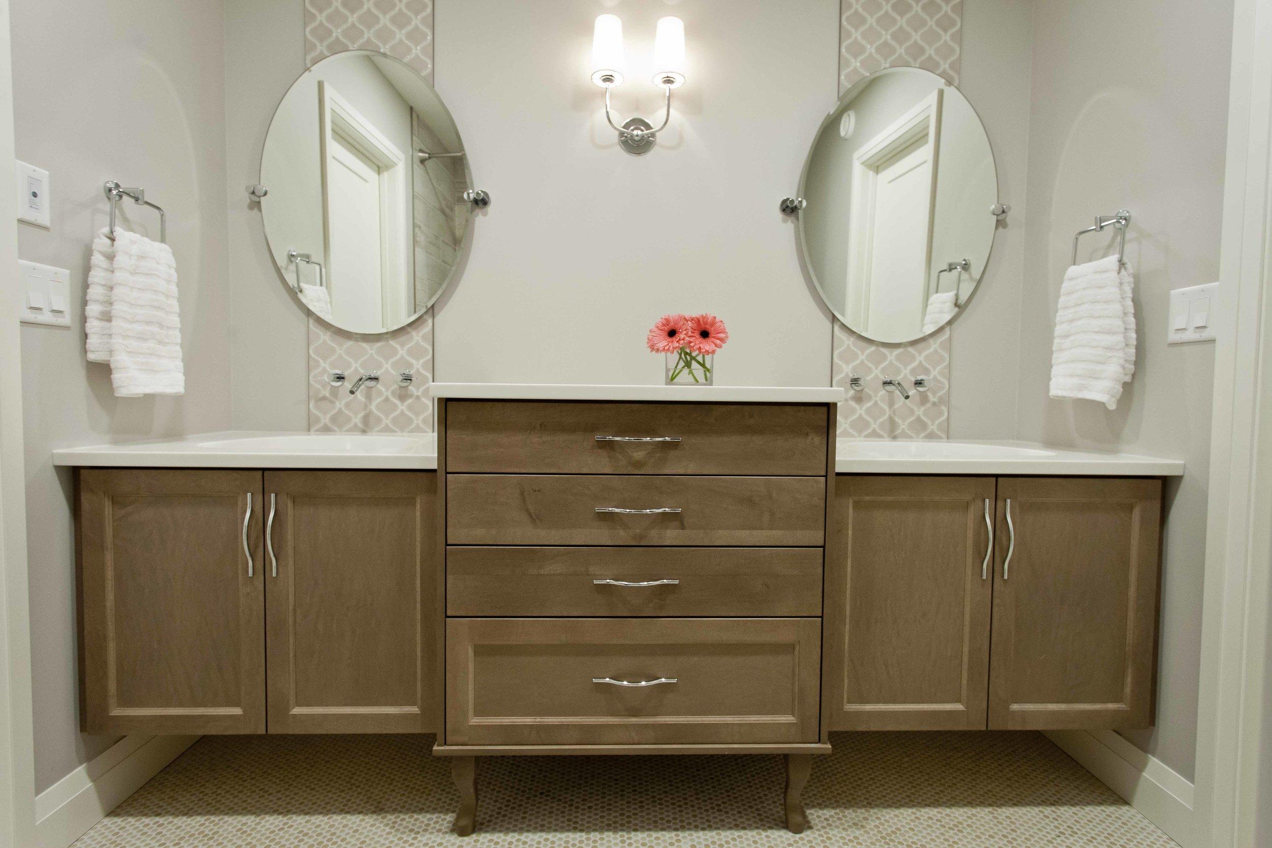 Workshop Cabinets & Design Camrose Alberta Interior Design and Cabinetry Bathroom Design Jack and Jill Custom Vanity and Sink