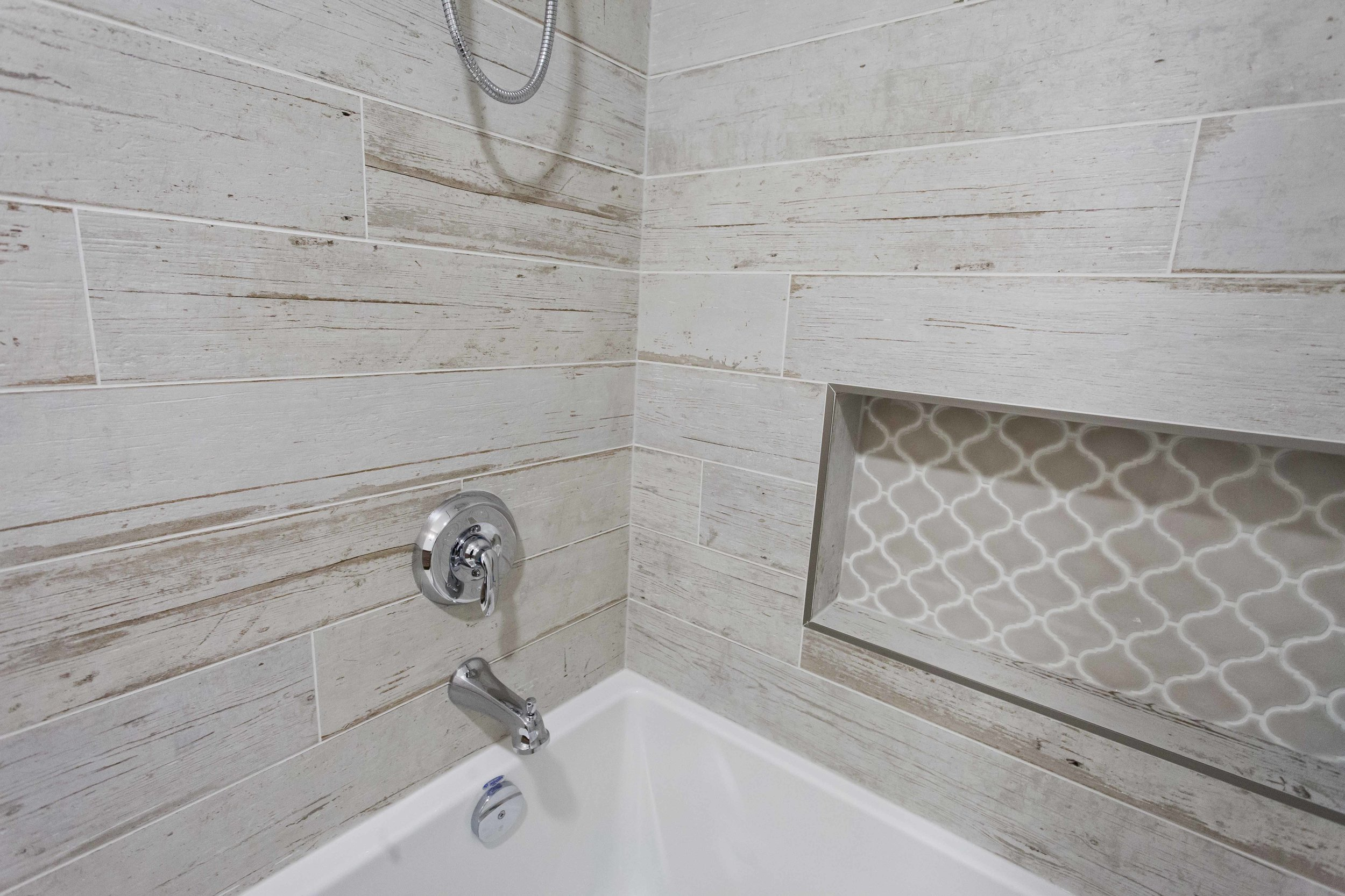 A natural stone feature wall.