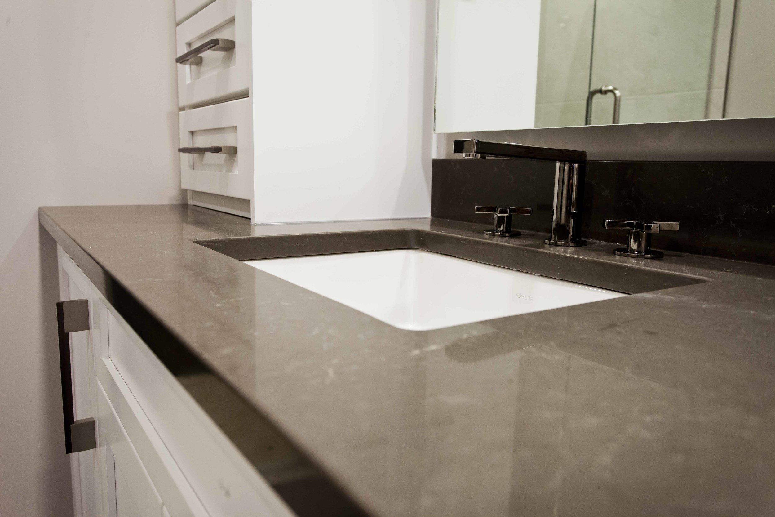 A Handsome Master Bathroom Design Workshop Cabinets