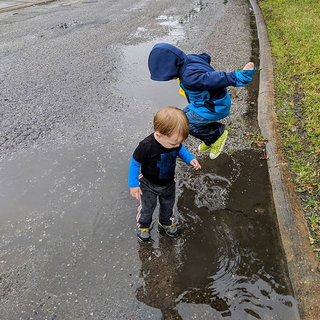 Some serious puddle jumping...and some serious warming up after!