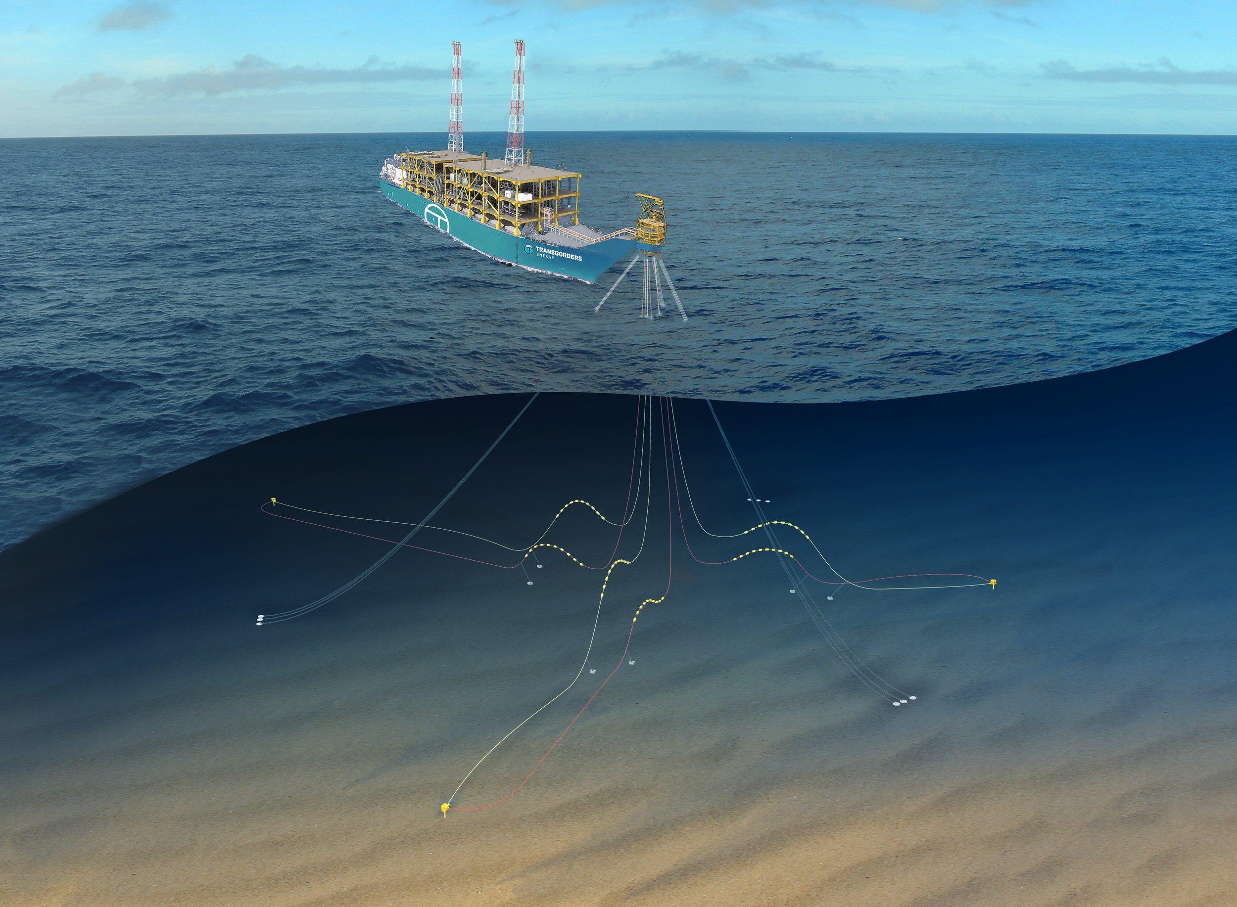 Image of initial field development plan utilising Transborders Energy's Generic FLNG Solution