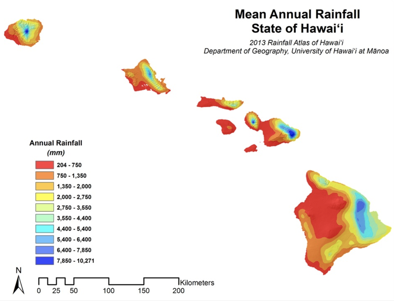 """Some leeward-coast cities like Kailua-Kona (west coast, big island) are exceptionally dry and report monthly rainfall of 2"""" while eastern facing Hilo (big island, windward-coast) reports 14+ inches of rain per month, and 30+ inches at higher elevations monthly."""