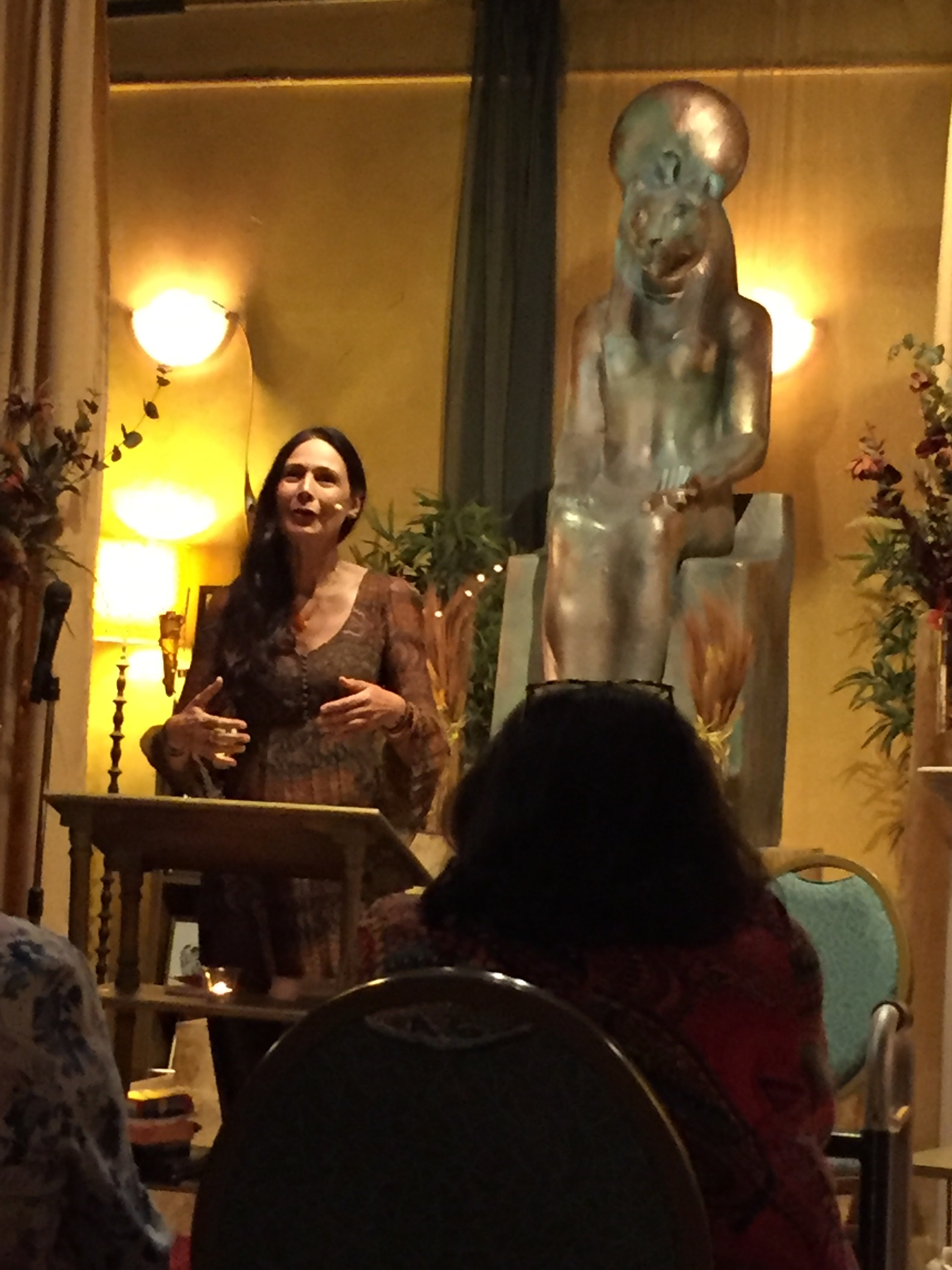Raïna speaking at the Joseph Campbell RoundTable in Orange County, on October 7, 2017.