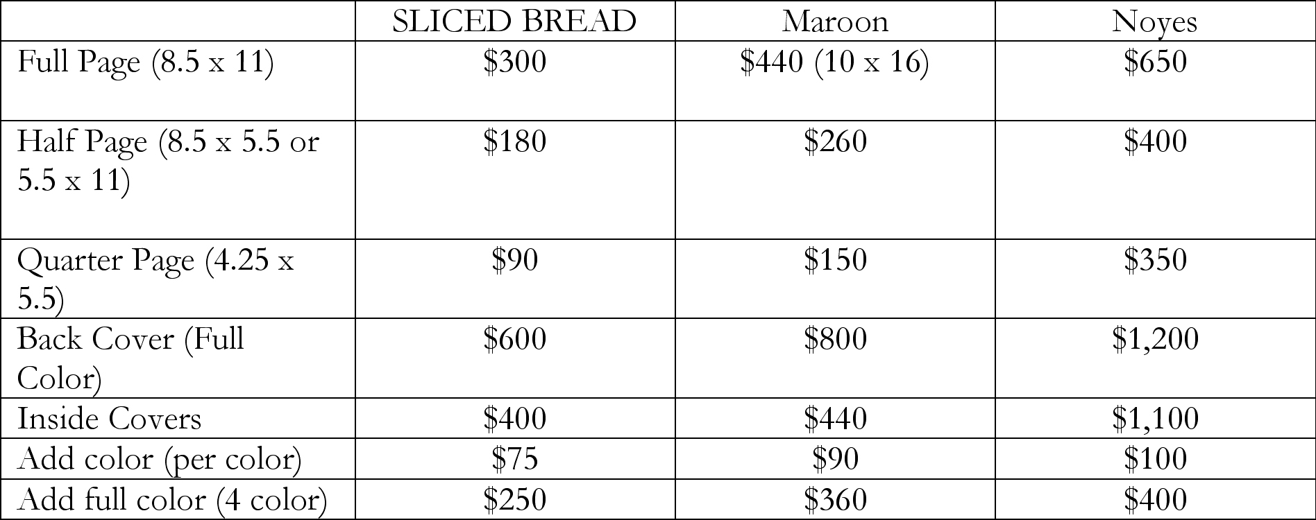 We are also willing to negotiate - just contact us at editors@slicedbreadmag.com