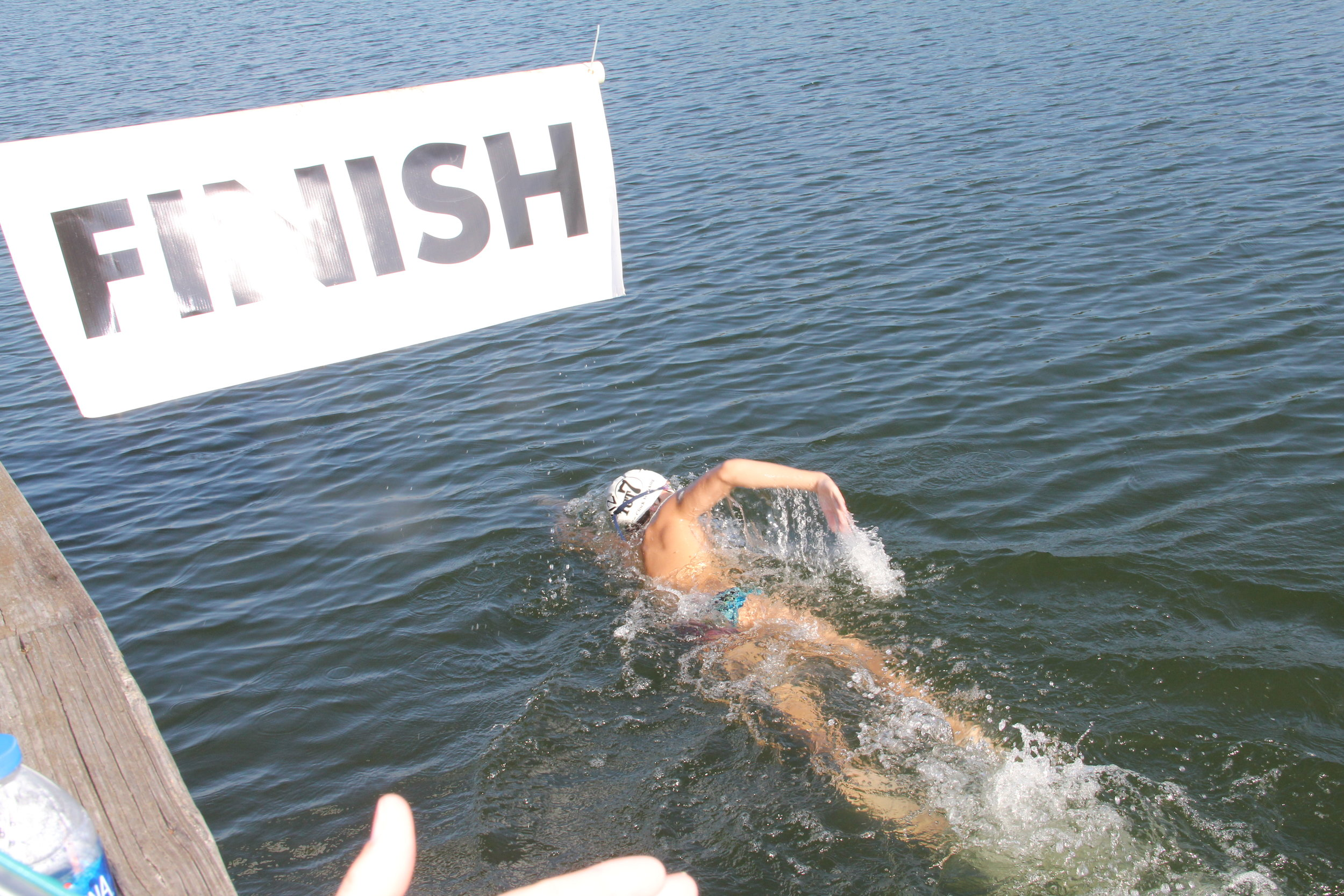 3.5 Mile entrant completing their swim