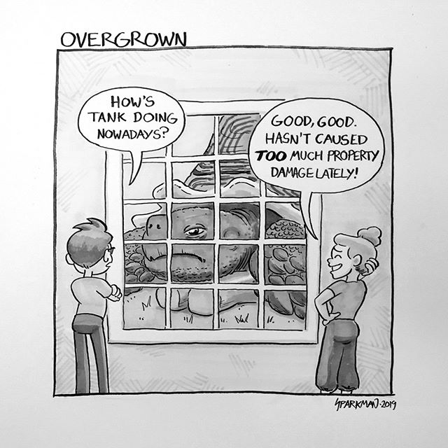 14 - Overgrown: My mom got me a little tortoise for my 12th birthday. It was a baby African Sulcata, and the pet store neglected to tell her how massive these things become. Almost 20 years later and Tank still lives in my parents' backyard.   #inktober #inktober2019 #overgrown #ink #comic #comics #drawing #illustration #art #artwork #artist #pen #brushpen #copic #copicmarkers #comicartist #comicart #instaartist #instaart #tortoise #africansulcata #africanspurred #africanspurredtortoise #pets #reptiles #big #giant #lol