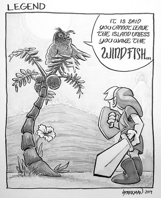 15 - Legend: Still on that Link's Awakening trip  #inktober #inktober2019 #legend #ink #comic #comics #drawing #illustration #art #artwork #artist #pen #brushpen #copic #copicmarkers #comicartist #comicart #instaartist #instaart #zelda #link #linksawakening #thelegendofzelda #nintendo #switch #owl #windfish #fanart