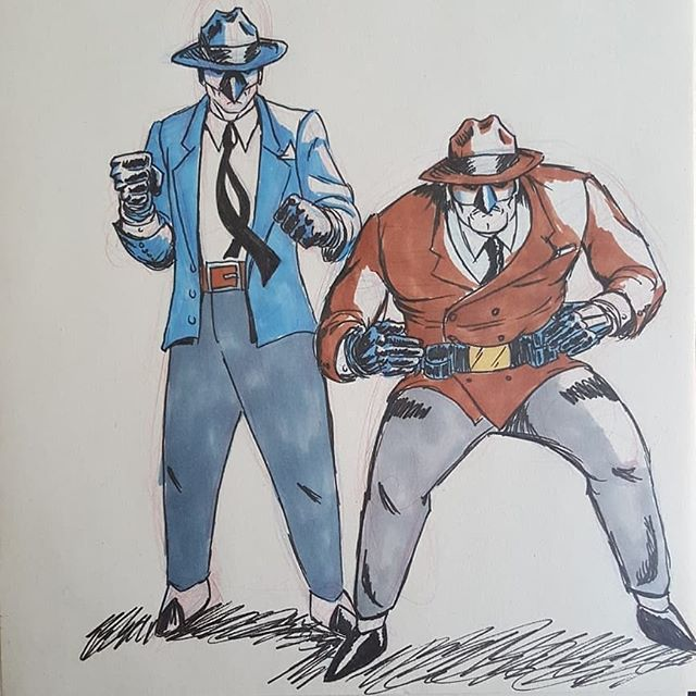 Look out criminal scum! Blue Jay and the Sparrow are here to clean up the streets! · · · · #hyperbolicfabrications #bluejayandsparrow #conceptart #characterdesign #indiecomics #indiecomicsart #artistssupportingartists #artistsofinstagram #dccomics #marvelcomics #comics #comicbooks #comicstrips