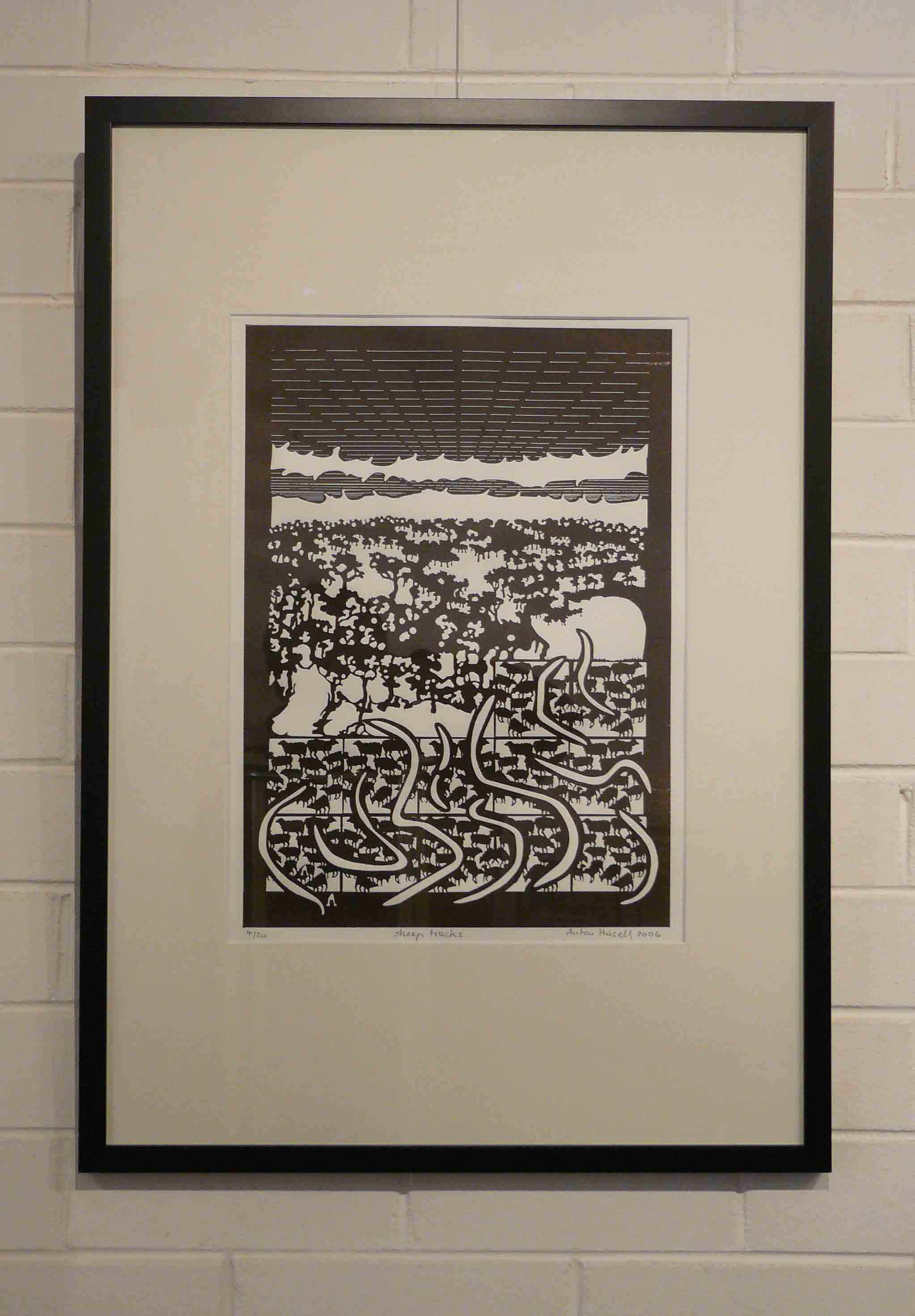 'Sheep tracks' 2006 0.5m by0.4m  laser cut plate relief print