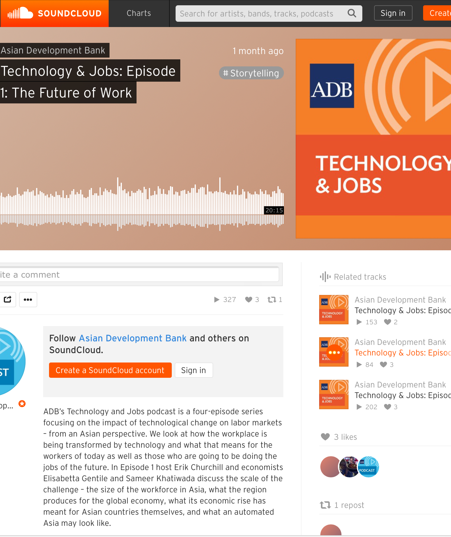 Screenshot from ADB's Soundcloud page, as hyperlinked above.