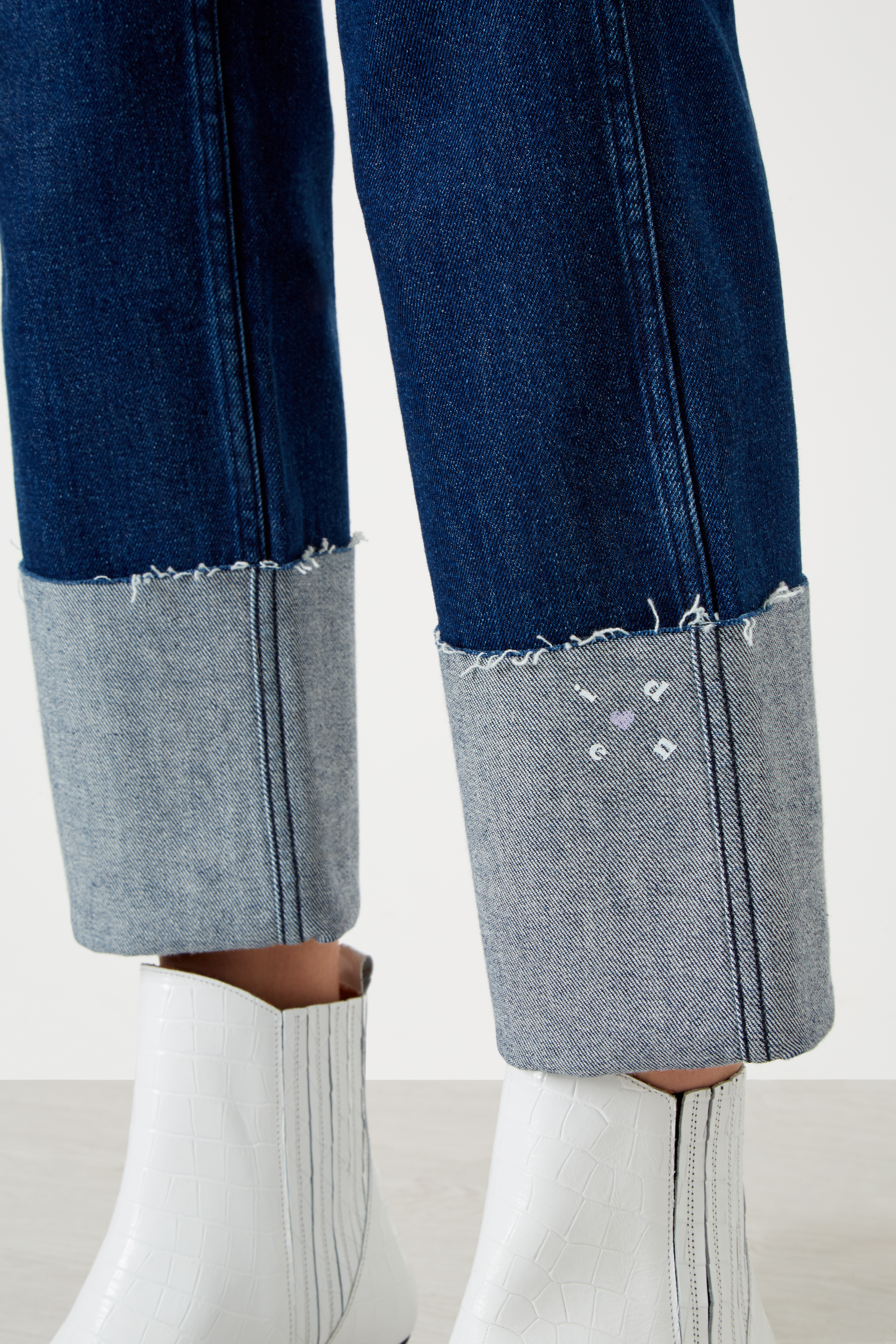 Straight Relaxed Maxi Turn-Up Organic Jeans £175