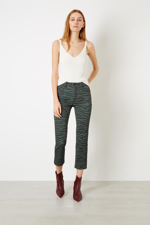 Khaki Slim Zebra Print Jeans £185