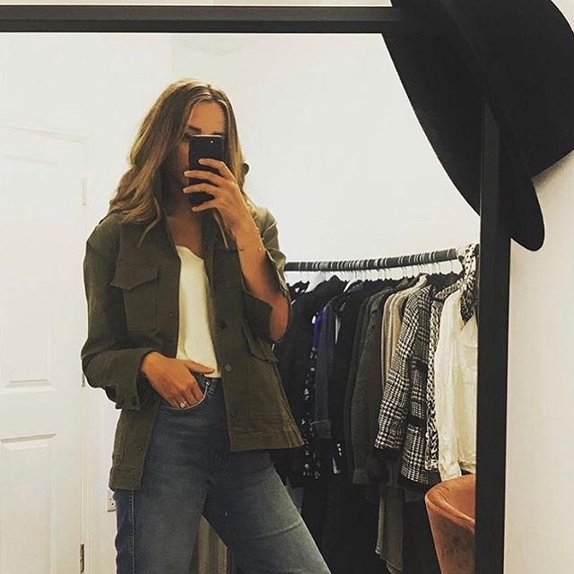 Feeling yourself Thursdays😍 @the.stylist.lab looking super cool in her khaki lace back organic denim jacket! #selflove #idendenin