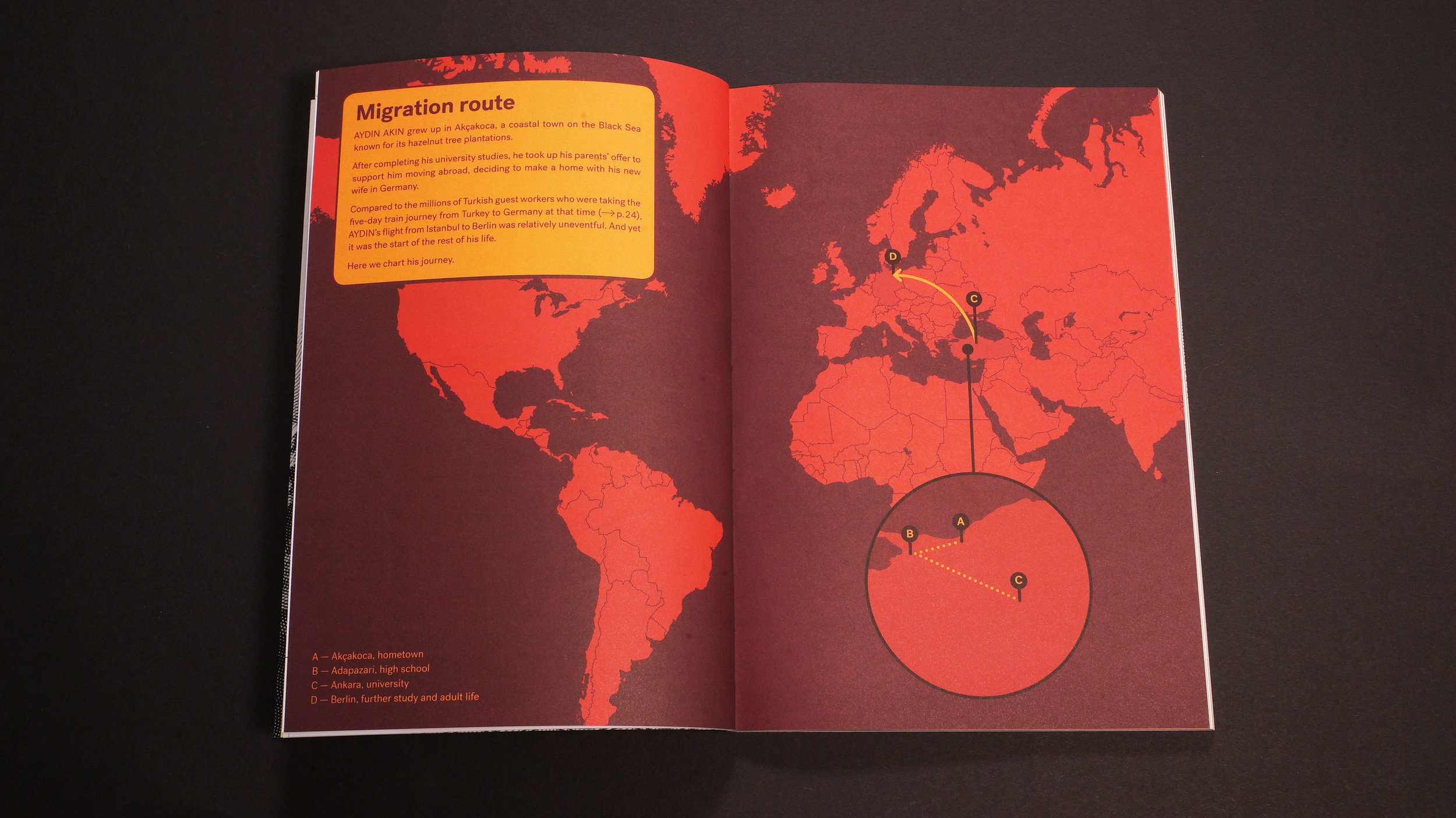 A map of AYDIN AKIN's migration route from  Issue 01