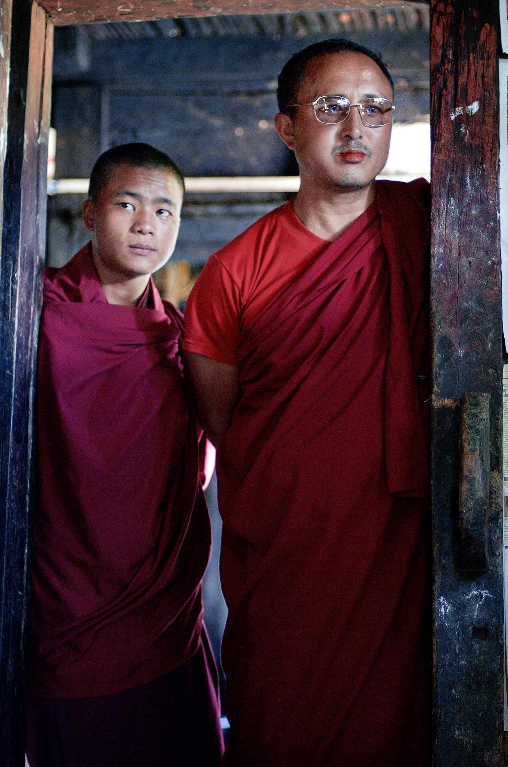 Thinley Dorjee    (left) with his teacher during a puja (religious ritual) 10.09.07 Eusakha.
