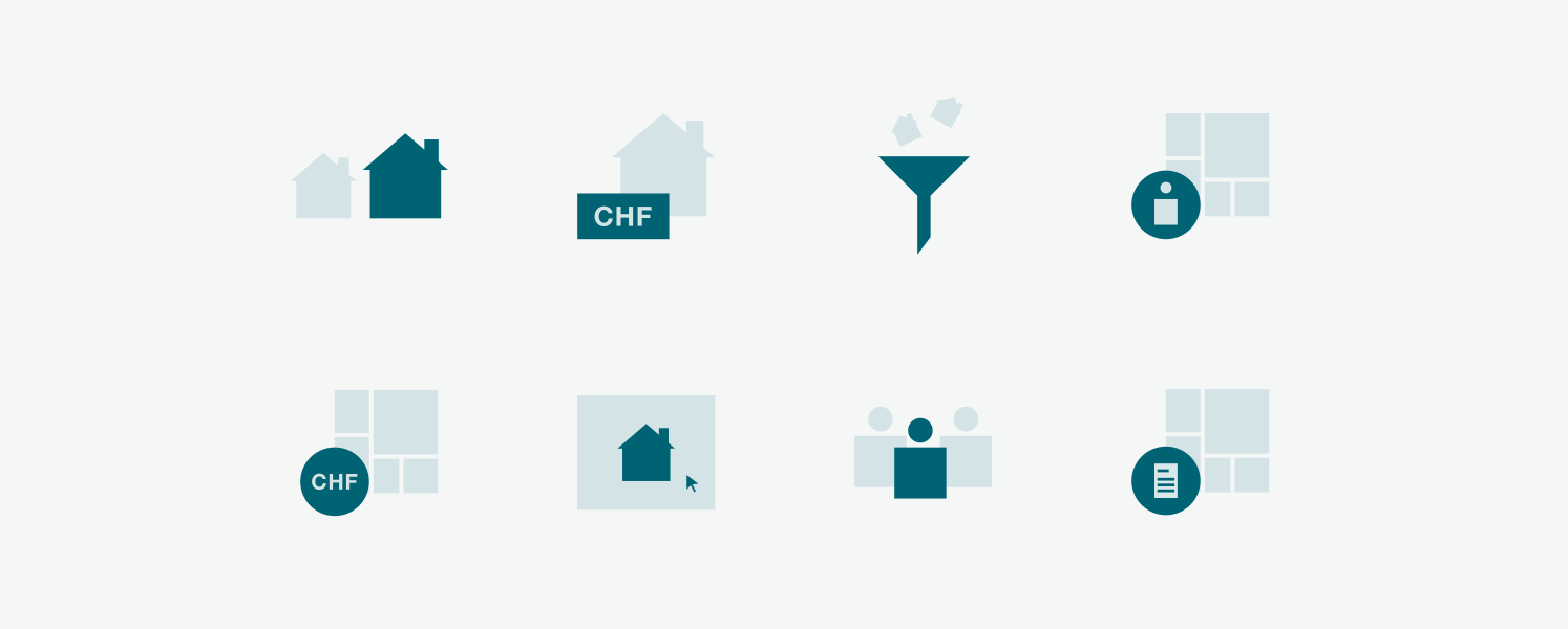 Example of icon set designed to explain crowdhouse business model.