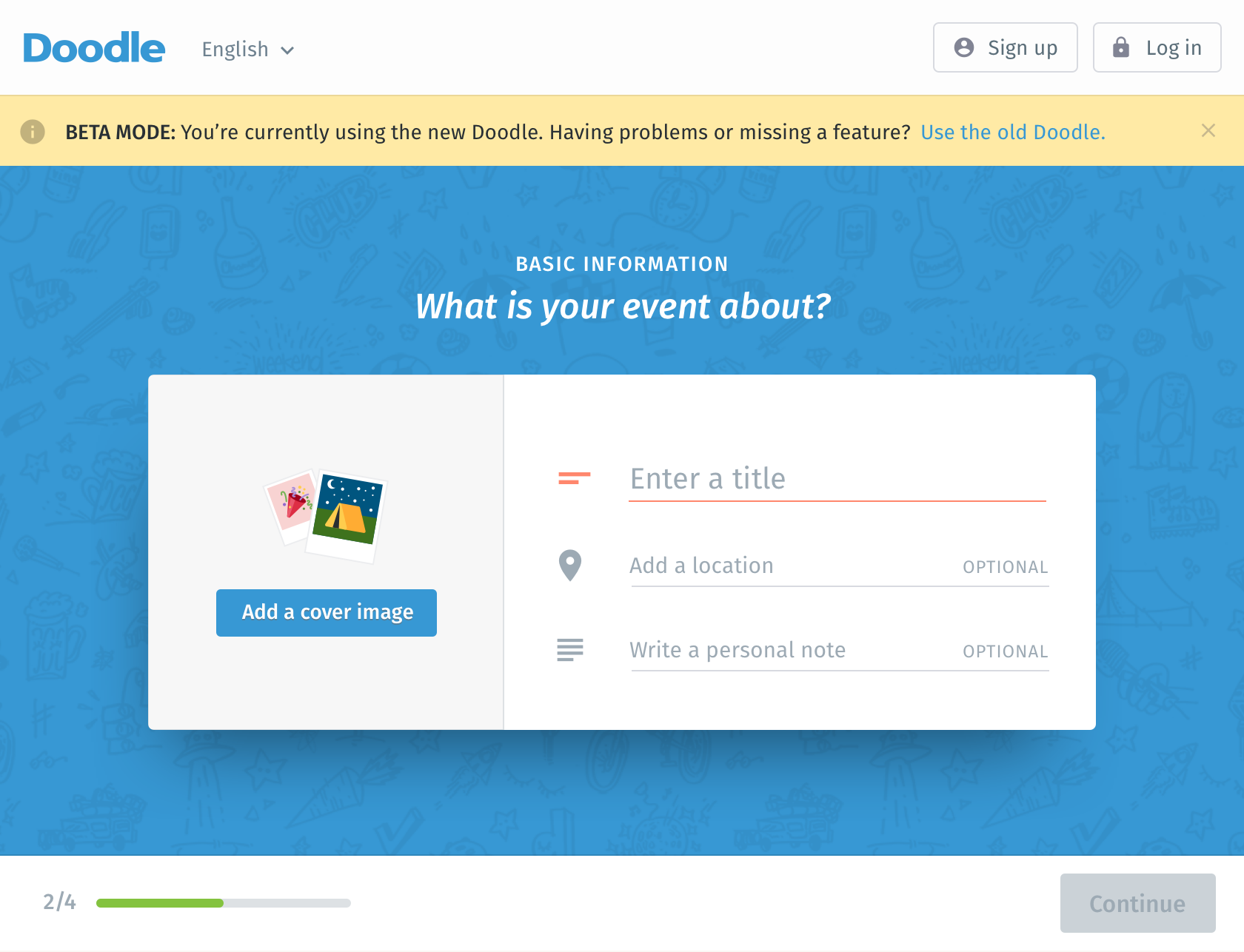 Example of engagement tactic: possibility of adding a cover image to the event.