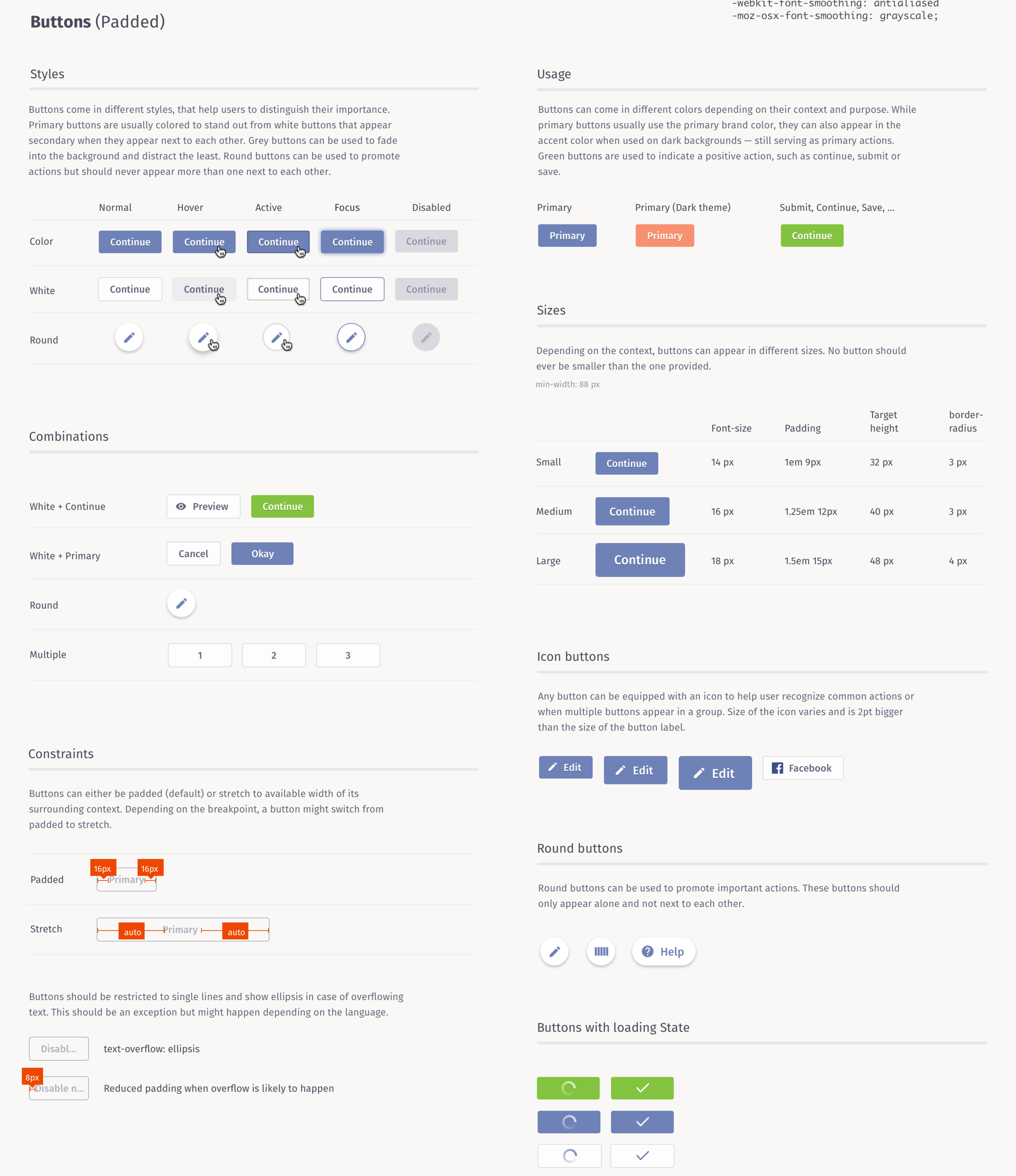 Example of the static style guide that later turned into a living style guide.