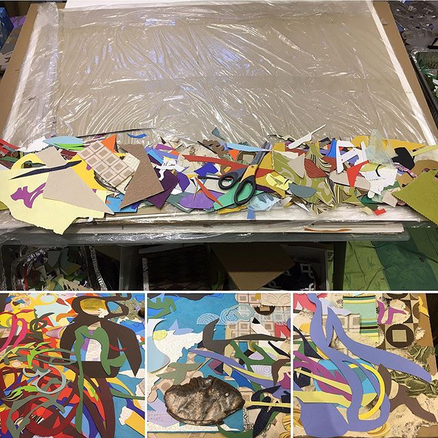 Coming together connecting the parts to the whole . Busy at it! 🖖🏾 . . . . #contemporarycollector #contemporarycollage #abstractpainting #colourfulartwork #artisticprocess #professionalartists #professionalart #buyartfromartists #canadianartists #lovevancouver #abstractartistsoninstagram #torontoartcrawl