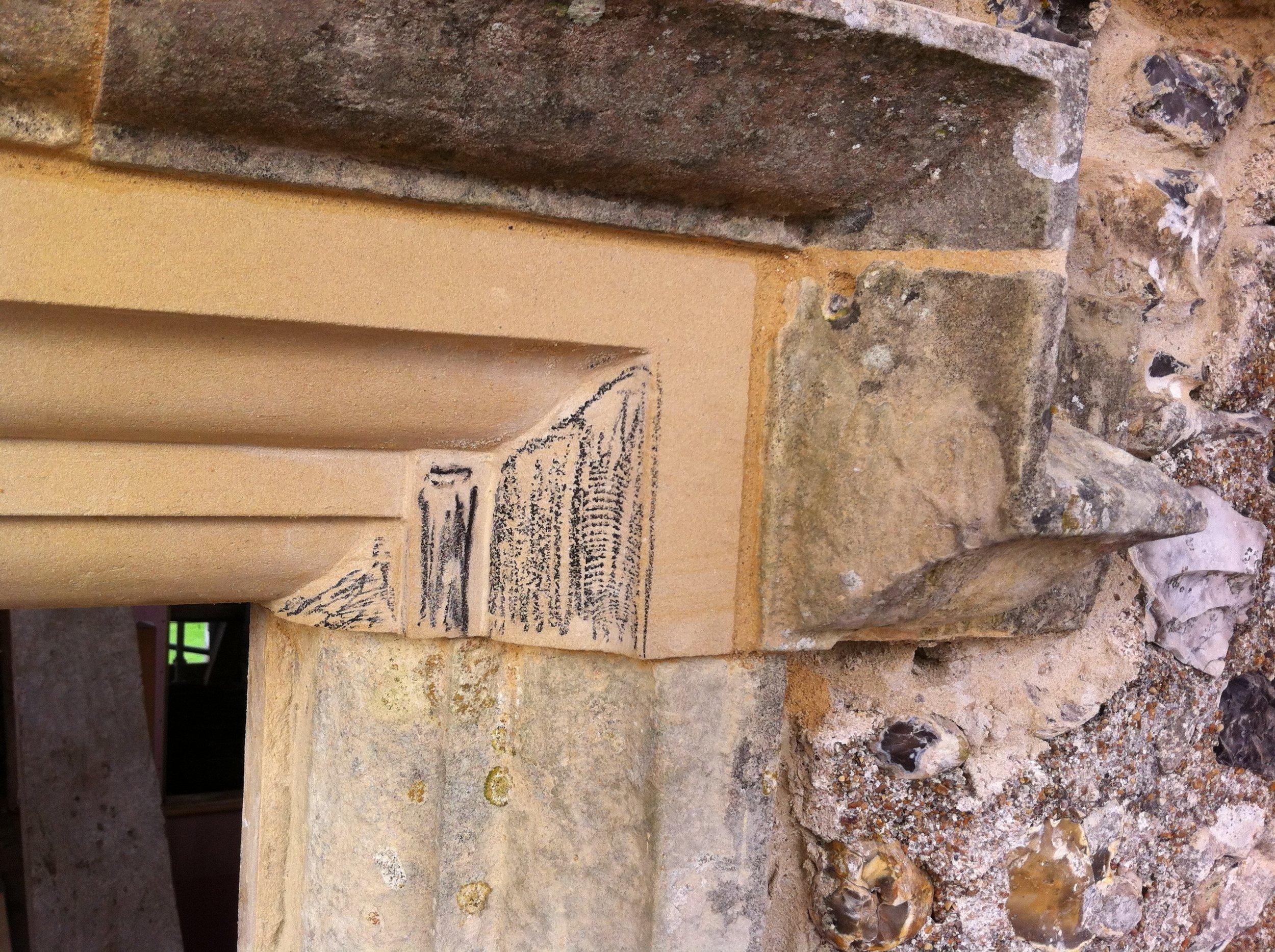 Glynde Place - Phase I - Detail of window repair (Carlotta Luke).JPG