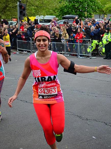 Gandhi freebleeds at the London Marathon, via People
