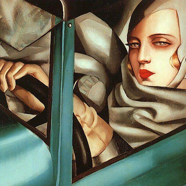 Self Portrait in the Green Bugatti by Tamara de Lempicka, 1929