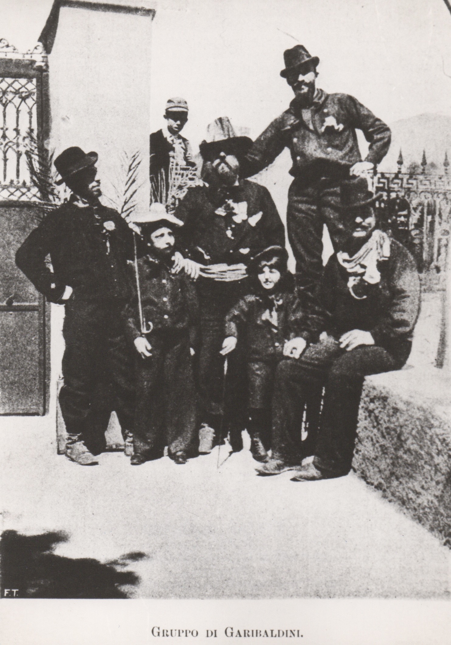 The de Chirico brothers in Volos with a group of Garibaldi's soldiers, 1896